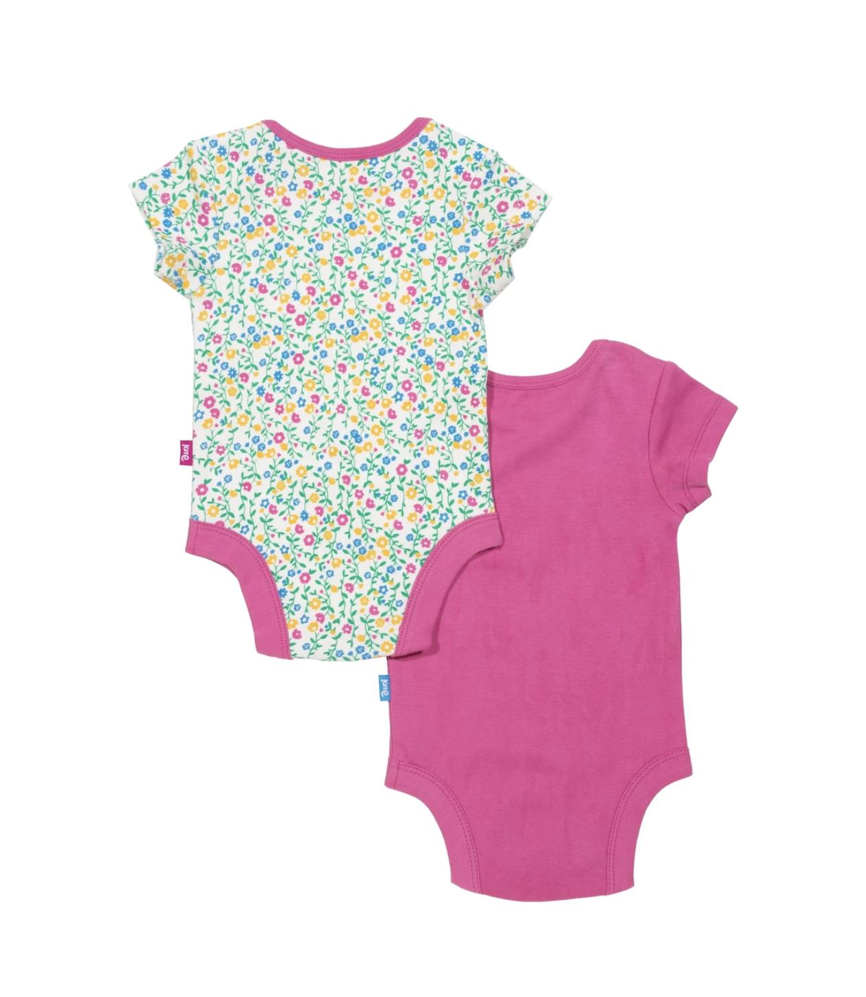Kite Organic Cotton Polka Dot Rose Bodysuits 2 PackNewborn